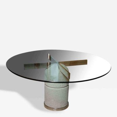 Giovanni Offredi A Glass Chrome and Stone Dining Center Table Giovanni Offredi