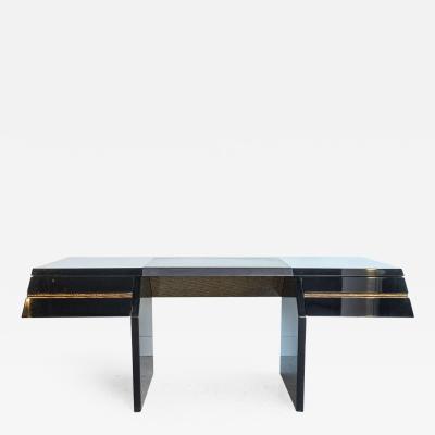 Giovanni Offredi Italian Modern Black Lacquer and Zebrawood Desk Giovanni Offredi for Saporiti