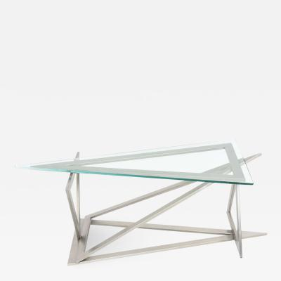 Giovanni Offredi Italian Modern Stainless Steel and Glass Table Attributed to Giovanni Offredi