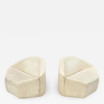 Giovanni Offredi Pair Mid Century Modern White Leather Slipper Lounge Chairs by Giovanni Offredi