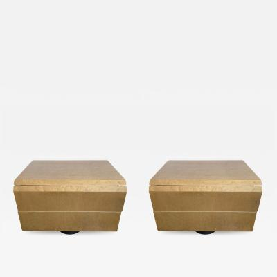 Giovanni Offredi Pair of Giovanni Offredi Postmodern Nightstands or Bedside Tables for Saporiti