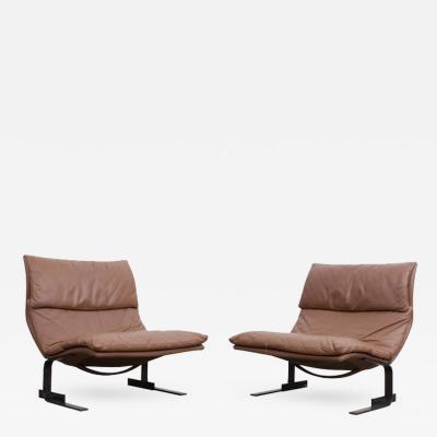 Giovanni Offredi Pair of Saporiti Onda Wave Lounge Chairs by Giovanni Offredi