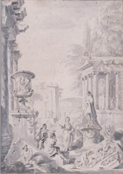 Giovanni Paolo Panini Architectural Fantasy with figures amidst Roman Ruins