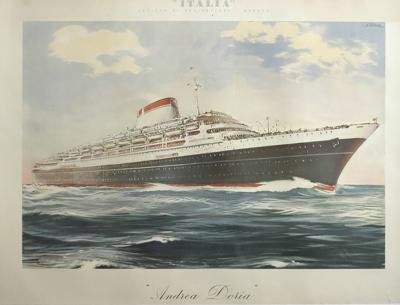 Giovanni Patrone Italian Poster for Ocean Liner Andrea Doria by Giovanni Patrone Circa 1953