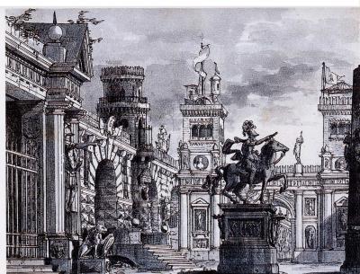 Giovanni Perego Architectural Fantasy with an Equestrian Statue