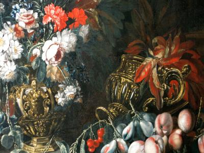 Giovanni Stanchi Still Life of Flowers and Fruit with Gilded Urns