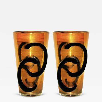Giulio Ferro Giulio Ferro Italian Modern Pair of Iridescent Gold and Black Murano Glass Vases