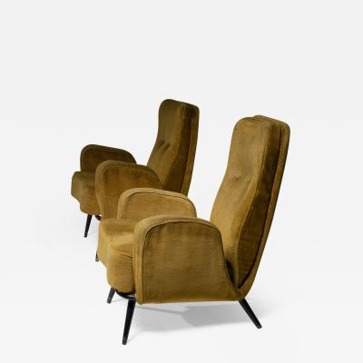 Giulio Minoletti Set of Two Lounge Chairs in the style of Giulio Minoletti