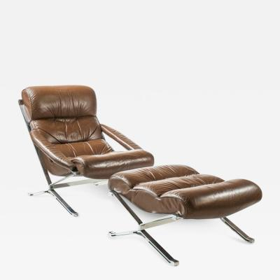 Giulio Moscatelli Sayonara Leather and Steel Armchair and Ottoman
