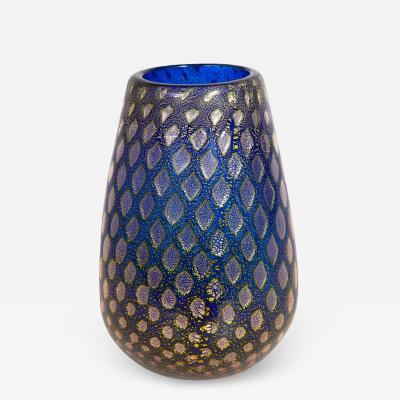 Giulio Radi Giulio Radi Blue Glass Vase with Silver Foil 1950