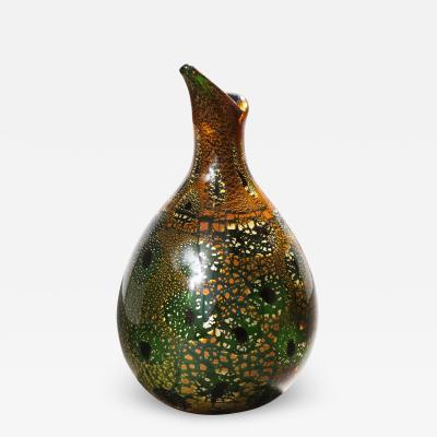 Giulio Radi Giulio Radi Hand Blown Glass Vase with Gold Foil And Murrhines Ca 1950