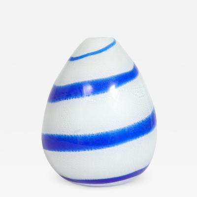 Giulio Radi Giulio Radi Hand Blown Glass Vase with Silver Foil and Blue Spiral ca 1950