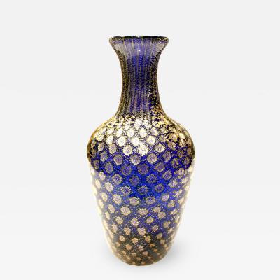 Giulio Radi Giulio Radi Reazioni Policrome Vase in Blue Glass with Silver Foil 1950 2