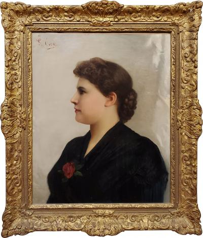 Giuseppe Costa Portrait of a Woman an Oil Painting signed by Giuseppe Costa