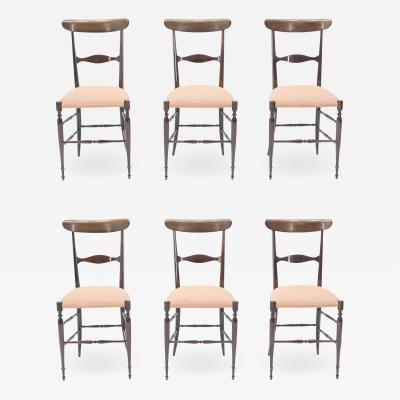Giuseppe Gaetano Descalzi Rare set of six Campanino Chiavari walnut chairs by Fratelli Levaggi 1950