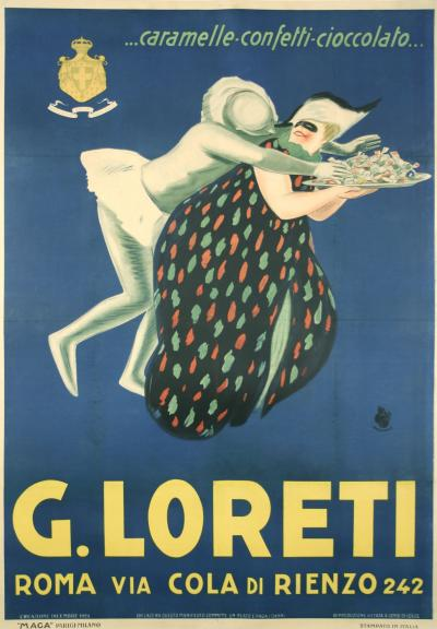 Giuseppe Magagnoli G Loreti Italian Art Deco Period Candy Poster by Maga 1923