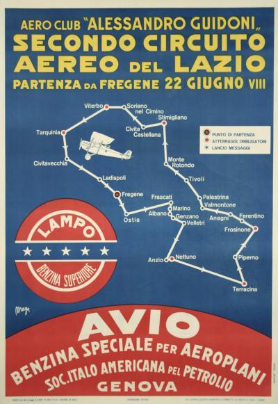 Giuseppe Magagnoli Italian Futurist Period Aviation Poster by Maga 1930