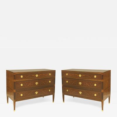 Giuseppe Maggiolini Pair of Northern Italian Neo classical Marquetry Inlaid Commodes