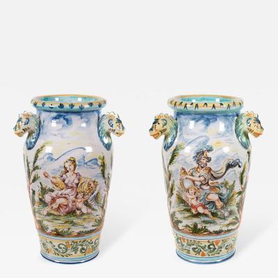 Giuseppe Mazzotti Pair of Large Italian Majolica Vases by Giuseppe Mazzotti circa 1930
