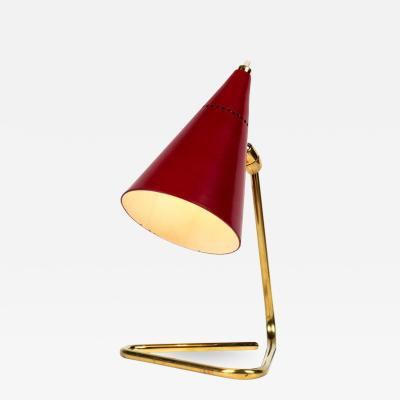 Giuseppe Ostuni 1950s Giuseppe Ostuni Red Cone Table Lamp for Oluce