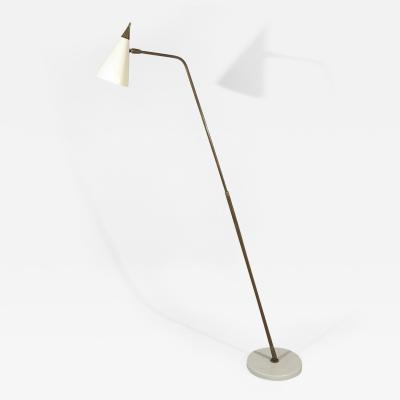 Giuseppe Ostuni Adjustable Sculptural Standing Lamp in Brass Marble and Brass