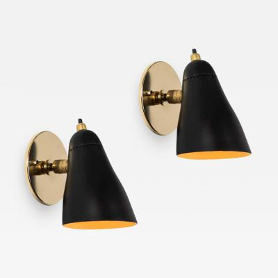 Giuseppe Ostuni Pair of 1950s Giuseppe Ostuni Black Articulating Sconces for O Luce