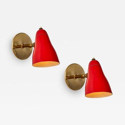 Giuseppe Ostuni Pair of Red 1950s Giuseppe Ostuni Articulating Sconces for O Luce