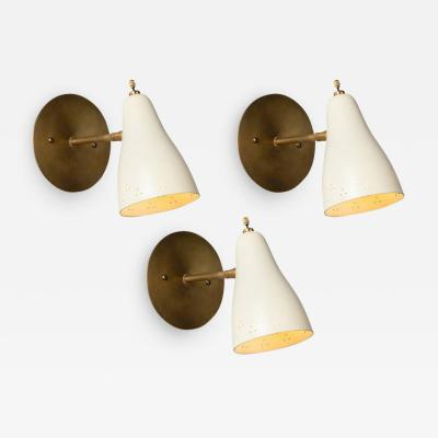 Giuseppe Ostuni Set of 3 1950s Perforated Italian Sconces in the Manner of Giuseppe Ostuni
