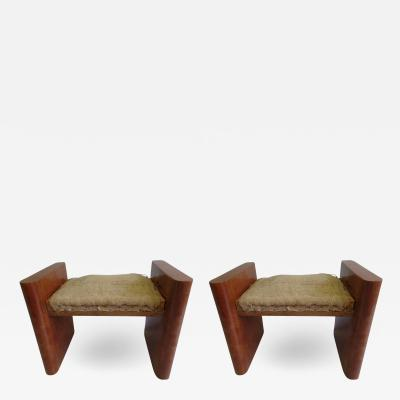 Giuseppe Pagano Pogatschnig Pair of 1930s Italian Walnut Benches Attributed to Giuseppe Pagano