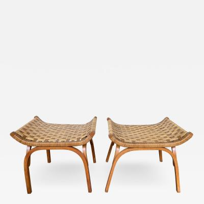 Giuseppe Pagano Pogatschnig Pair of Wood and Rattan Taurus Stools Italy 1960s