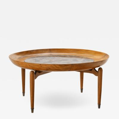 Giuseppe Scapinelli Giuseppe Scapinelli Round Coffee Table in Caviuna and Marble Brazil 1960s