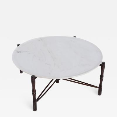 Giuseppe Scapinelli Italian coffee table by Giuseppe Scapinelli in wood and marble 1950s
