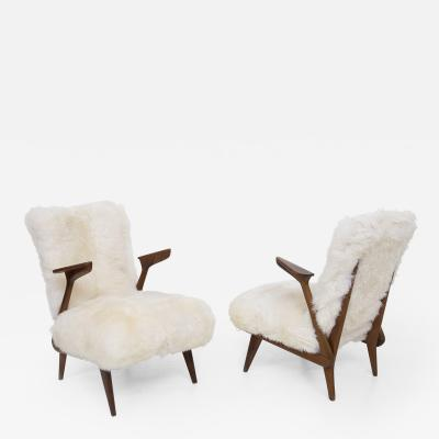 Giuseppe Scapinelli Pair of Italian Fur Armchairs Attributed to Giuseppe Scapinelli
