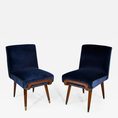 Giuseppe Scapinelli Pair of Slipper Chairs in Mahogany and Brass