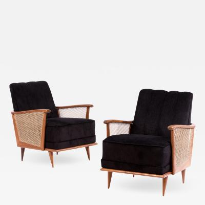 Giuseppe Scapinelli Pair of armchairs in caviuna wood and fabric 1950s