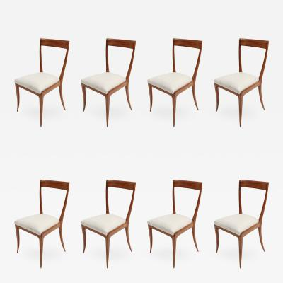 Giuseppe Scapinelli Set of 8 Scapinelli 1960s Brazilian Caviuna Dining Chairs in Beige Linen