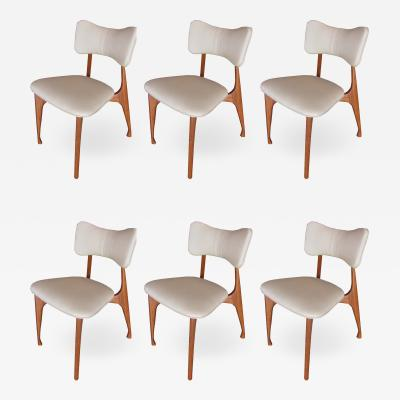 Giuseppe Scapinelli Set of Six Italian Modern Walnut Dining Chairs Guiseppe Scapinelli