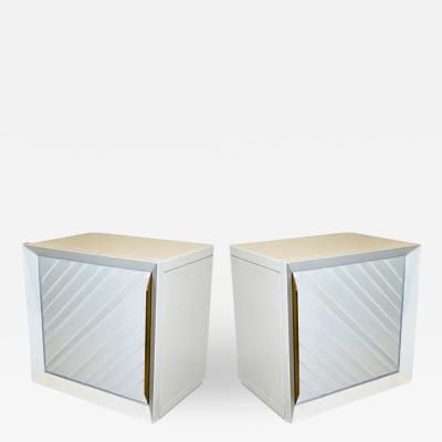 Giusta Collini Frigerio 1970s Italian Pair of White Lacquered Wood Side Tables Nightstands