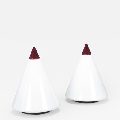 Giusto Toso A Large Pair of Italian Red and White Glass Cone Lamps by Giusto Toso for Leucos