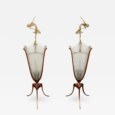 Glamorous Art Deco Lamps With Bronze Nude Figures And Etched Scenic Glass Panels