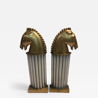 Glamorous Pair of Art Deco Bronze and Aluminum Horsehead Andirons