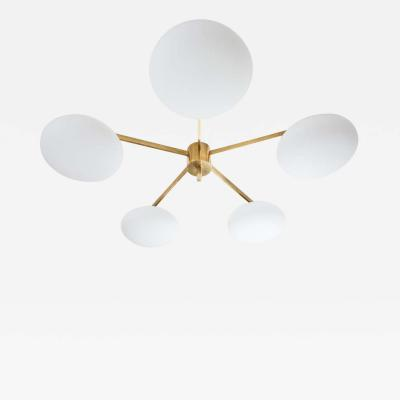 Glass And Brass Flash Mount Star Ceiling Light