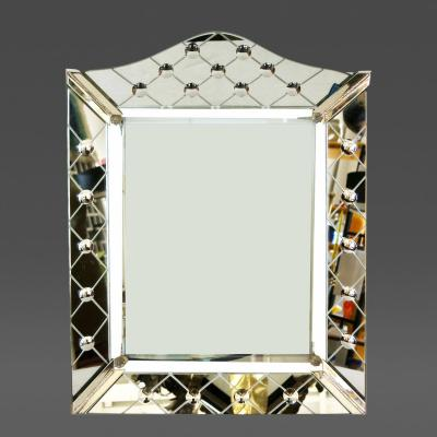 Glass Art Deco Table Top Picture Frame with Mirrored Face
