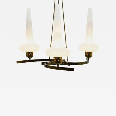 Glass Brass Chandelier Italy 1950 s