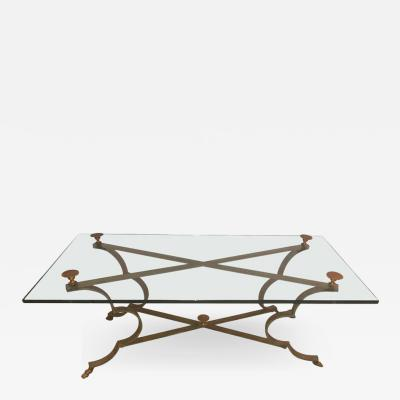 Glass Top and Gilt Brass and Iron Neoclassical Style Center or Coffee Table