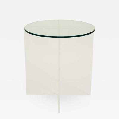 Glass Topped Acrylic Base Side Table