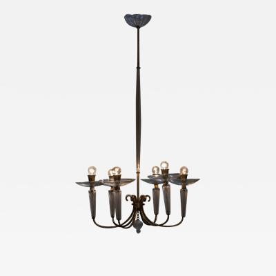 Glass and Brass Italian Midcentury Chandelier