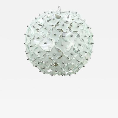 Glass and Metal Snowball Chandelier Italy 1960s