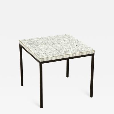 Glass tile top side table with black enamel iron base