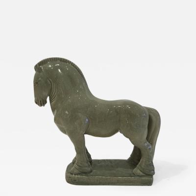 Glazed Ceramic Celadon Horse Sculpture